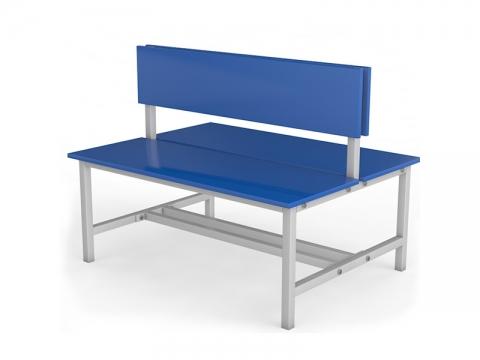 Скамейка для раздевалки со спинкой двухсторонняя ТМБ-Р3ЛДСП (настил ЛДСП)