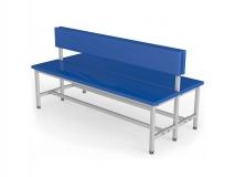 Скамейка для раздевалки со спинкой двухсторонняя мягкая ТМБ-Р3М