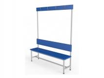 Скамейка для раздевалки с вешалкой односторонняя ТМБ-Р4ЛДСП (настил ЛДСП)