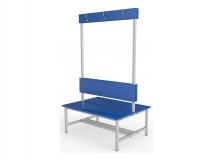 Скамейка для раздевалки двухсторонняя с вешалкой ТМБ-Р5ЛДСП (настил ЛДСП)