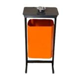 Урна уличная для мусора с крышкой ТМБ-35 с пепельницей (оранжевая)
