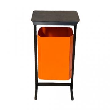 Урна уличная для мусора с крышкой ТМБ-35 без пепельницы (оранжевая)