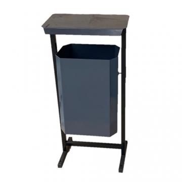 Урна уличная для мусора с крышкой ТМБ-35 без пепельницы (серая)